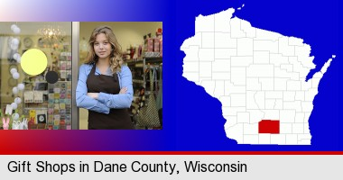 a gift shop proprietor; Dane County highlighted in red on a map