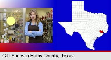 a gift shop proprietor; Harris County highlighted in red on a map