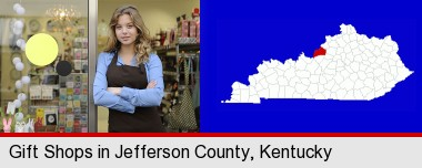 a gift shop proprietor; Jefferson County highlighted in red on a map