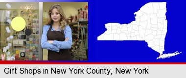 a gift shop proprietor; New York County highlighted in red on a map